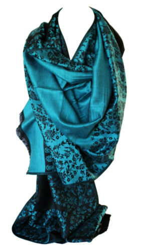 Two Sided Reversible Floral Print Self Embossed Pashmina Feel Wrap Scarf Shawl