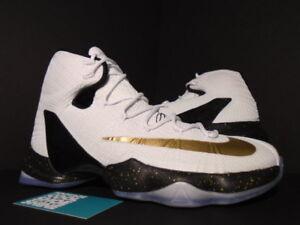 604870f01f23 2016 Nike LEBRON XIII 13 ELITE HOME WHITE METALLIC GOLD BLACK 831923 ...