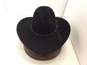 Stetson Cowboy Hat 6X Beaver Fur Black GUS With Free Hat Brush+No ... 8578dc5469b
