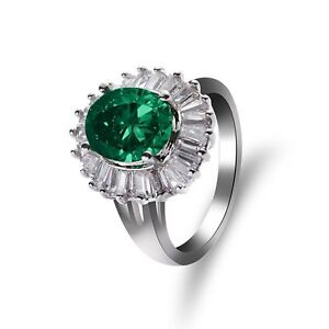 Vintage-Jewelry-Classical-Silver-Plated-Emerald-Ring-Oval-Shaped-Green-Crystal