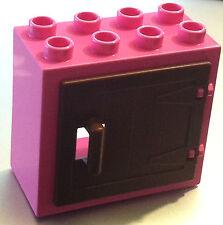 *NEW* Lego DUPLO DARK PINK WINDOW DOOR 2X4X3 with BROWN WOODEN GATE with Handle