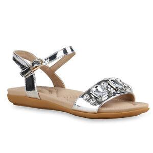 Bequeme Damen Sandalen Strass Metallic Riemchensandalen Schuhe 815576 Trendy Neu