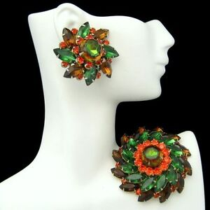 JUDY-LEE-Vintage-Rhinestones-Brooch-Pin-Earrings-Green-Orange-Brown-Gold-Plated