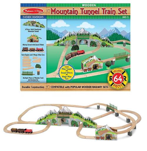 Melissa & Doug Pista Trenino Montagna - Mountain Tunnel Wooden Train Set 10611