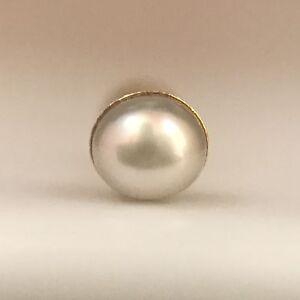 Real-Pearl-14Kt-Gold-Stud-Yellow-Nose-Ear-Bone-Pin-Piercing-Round-Ring-20-Gauge