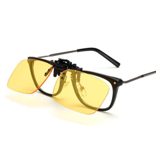 Unisex Sunglasses Clip On Flip Up UV400 Driving Glasses Sun Mens Womens Yellow
