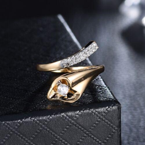 Elegant Chic Femmes Amitié Superbe Cristal Saphir Deux Ton Or Ring Cadeau