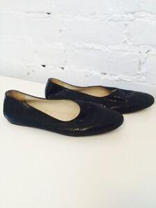 27db2a03b95d8 Details about Joan & David Couture Vintage 80s 90s Pebbled Leather Ballet  Flats Black 6.5M