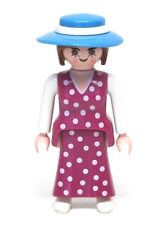 Playmobil Figure Custom Victorian Dollhouse Woman Lady Polka Dot Dress Hat 5510