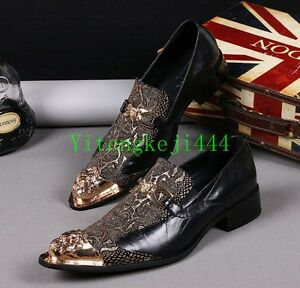 Men-Floral-Leather-Metal-Pointed-Toe-Slip-On-Formal-Dress-Shoes-Nightclub-Oxford