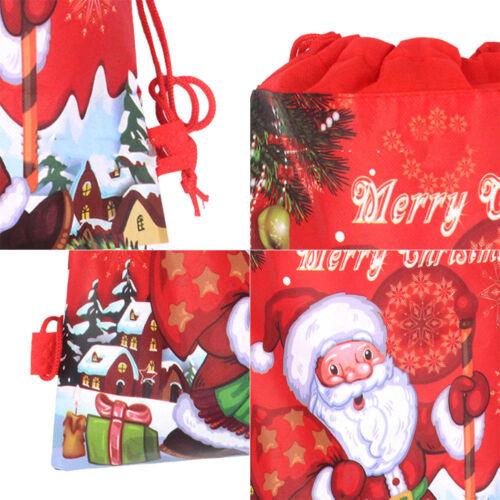 2//5//10 PCS Christmas Santa Claus Bag Drawstring Xmas Party Gift Candy Bags Pouch