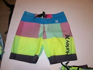 222aad7208 NEW Hurley pink blue yellow board shorts boys youth swim trunks 8 10 ...