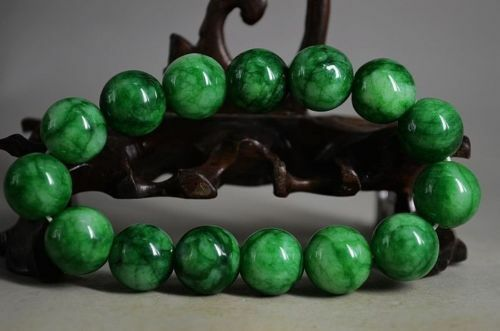 12MM Beautiful Chinese fine green Jade Hand Carved bracele//bracelets