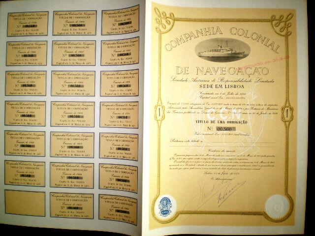 Colonial de Navegaçao 1000 escudos Bond 1954 Portugal