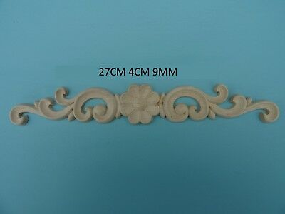 Decorative large rose on scrolls resin applique furniture moulding J02