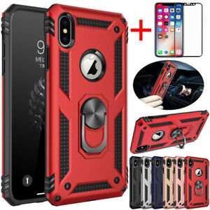 For-iPhone-11-11-Pro-Xs-Max-Xr-Shockproof-Armor-Stand-Case-Cover-Tempered-Glass