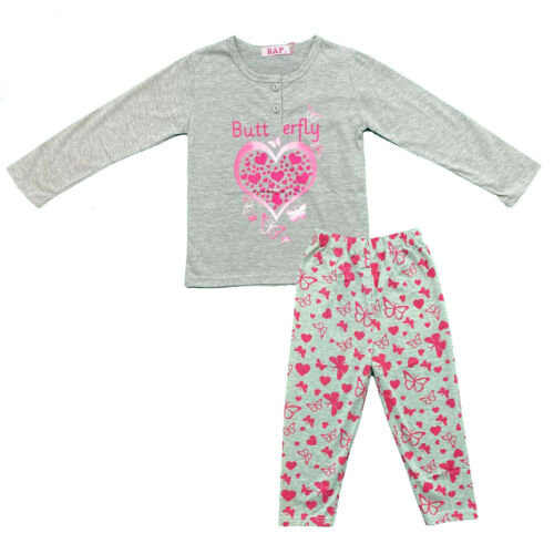 Bambine Bambini Pigiama manica lunga Top Bottom Set Farfalla Nightwear Pjs