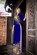 Vietnamese Long Dress Ao Dai -Printed 3d silk fabric  Ao Dai WITH PANTS NEW