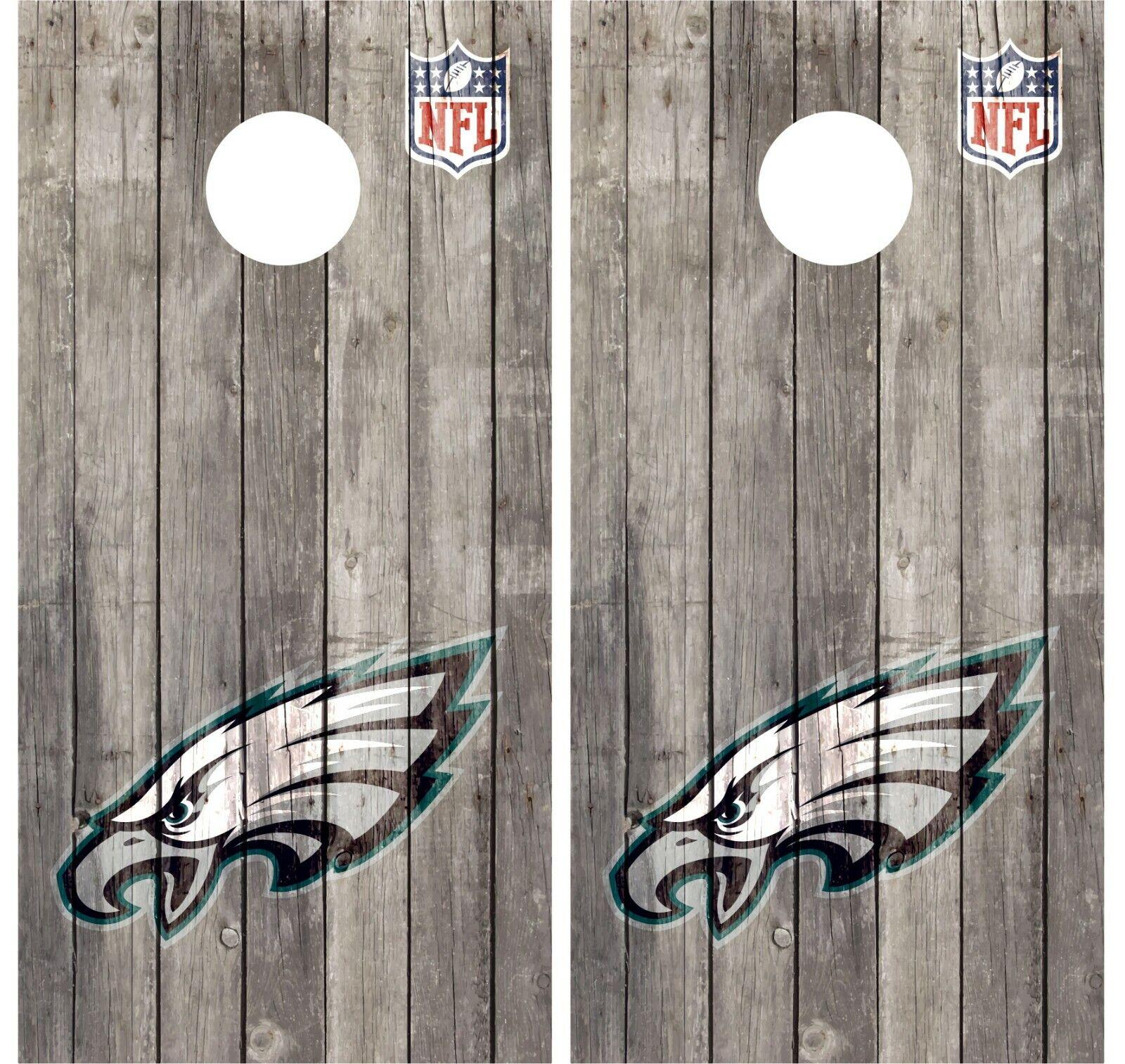 Philadelphia Eagles Pair Of Wood Cornhole Board Vinyl Decal Wraps