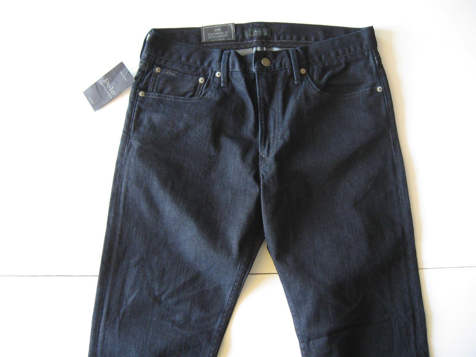 POLO RALPH LAUREN Men's Prospect Straight Dark Indigo Stretch Jeans 34x34