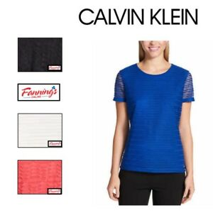 NEW-Calvin-Klein-Women-039-s-Scoop-Neck-Stretch-Textured-Shirt-VARIETY-SIZE-COLOR
