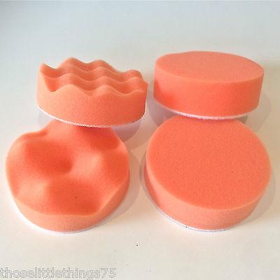 "4pcs 3"" polishing buffer pad set, replacement pads for car polish valeting"