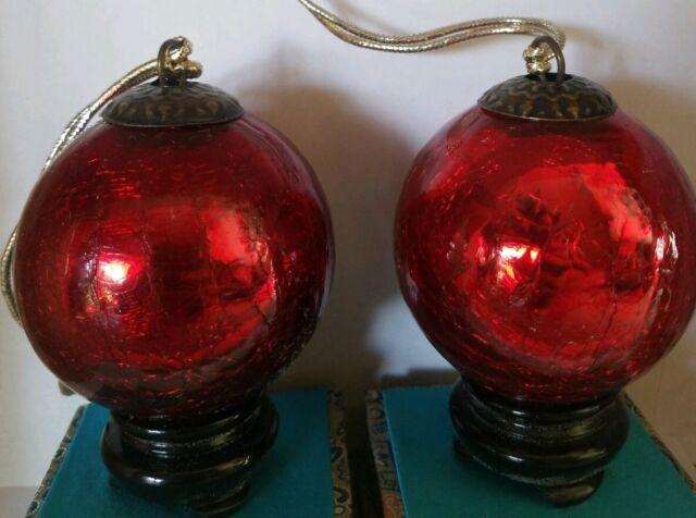 Vintage Mercury heavy Crackle Glass Kugel Red Christmas ...
