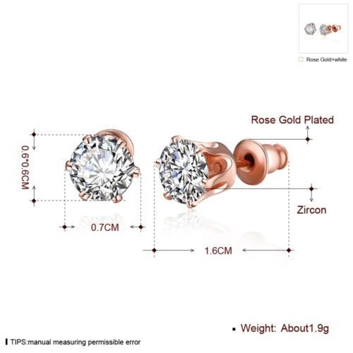 NEW ARRIVAL ROSE GOLD PLATED CRYSTAL STUD EARRING SIZE 1.6CM X 0.7CM