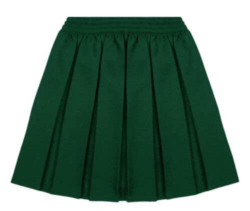GIRLS KIDS ELASTICATED SCHOOL SKIRT BOX PLEATED UNIFORM ALL SIZES 5-18