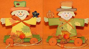 Halloween Basteln Holz.Details Zu Deko Herbst Vogelscheuche Aus Holz Auf Wagen Halloween Fest Grün Gelb Basteln