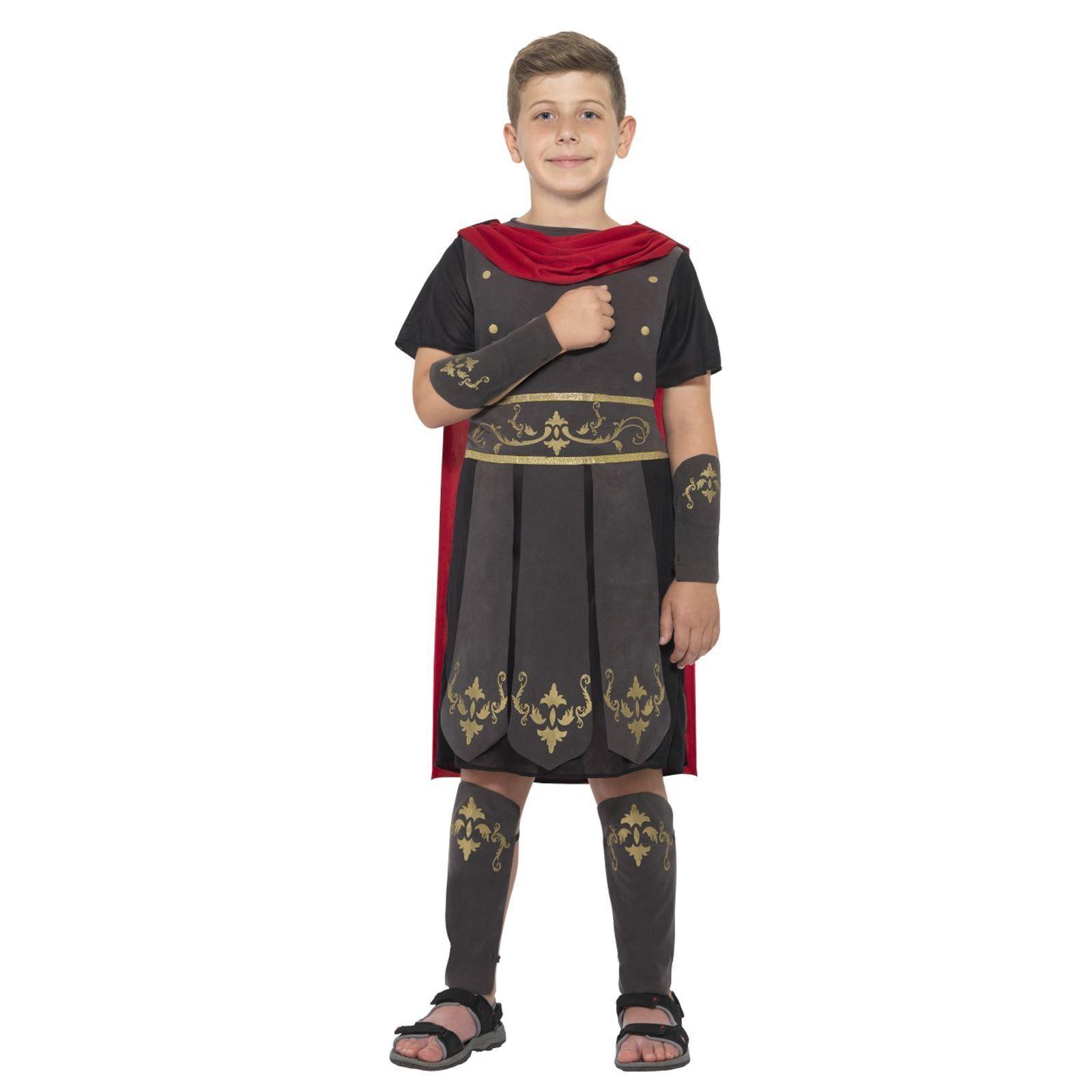 Boys Roman Solider Warrior Rome Gladiator Book Week Fancy Dress Costume Hero