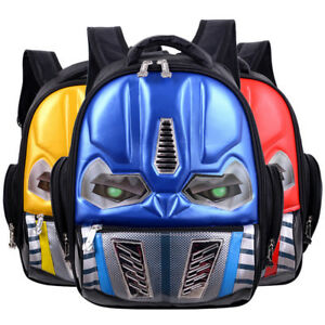 f8e67e7f33f9 LED Flashing Light 3D Robot Cartoon School Bag Boys Cool Children ...