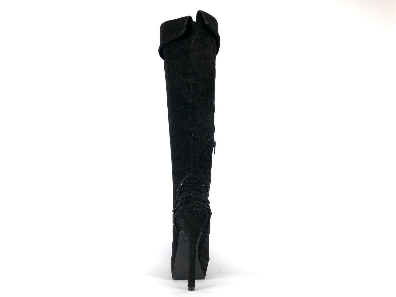 Gabriella Rocha Rocha Rocha Women's Black Leather Suede Ramsie Zip Boots Size 7 ec4612