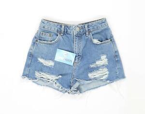 Womens-Topshop-Blue-Mom-Shorts-Cotton-Shorts-Size-8-L1