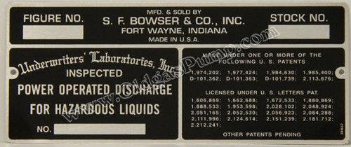 Bowser Gas Pump Model 575 585 595 ID Tag ID-117 Free S/&H