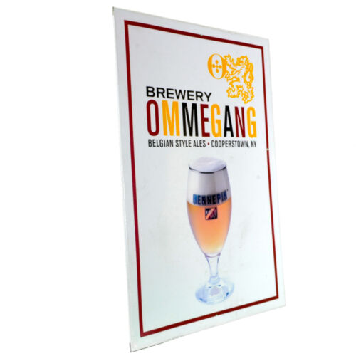 1999 Ommegang Hennepin Beer Advertisement Tin Sign Craft White Cooperstown NY