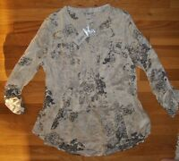 Womens Vintage America Cream Tunic Embroidered Roll Sleeve Shirt Blouse 2xl