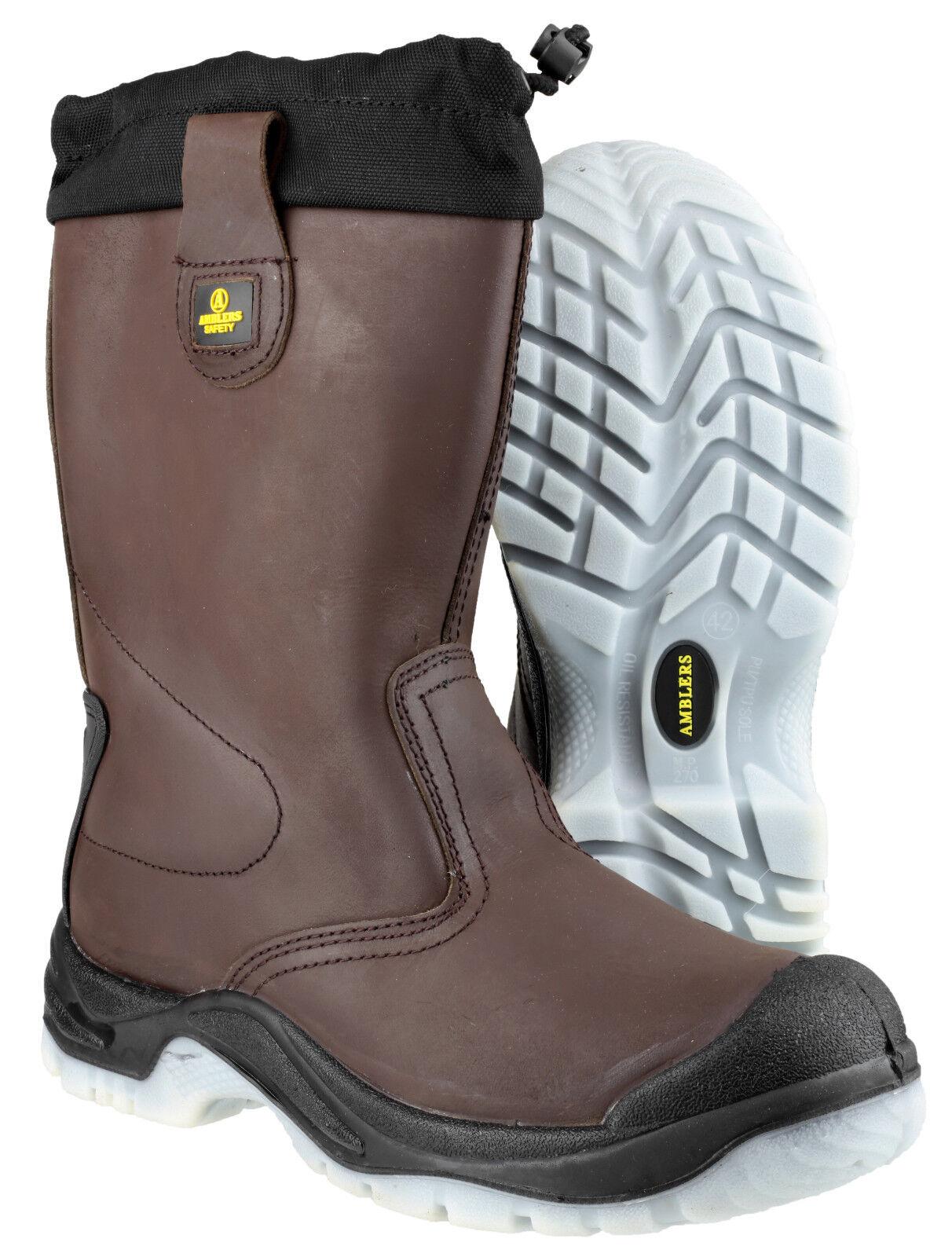Amblers FS219 Rigger Sicurezza Da Uomo In Marrone Da Infilare Punta In Uomo Acciaio Tappo Stivali scarpe uk4-14 430292