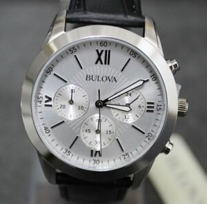 Watch-Chronograph-Bulova-96A142-Classic-Men-039-s-Silver-and-leather-NEW-279