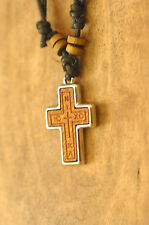 Handmade Christian Orthodox Pendant - Wooden & Metal Cross Necklace Crucifix No7