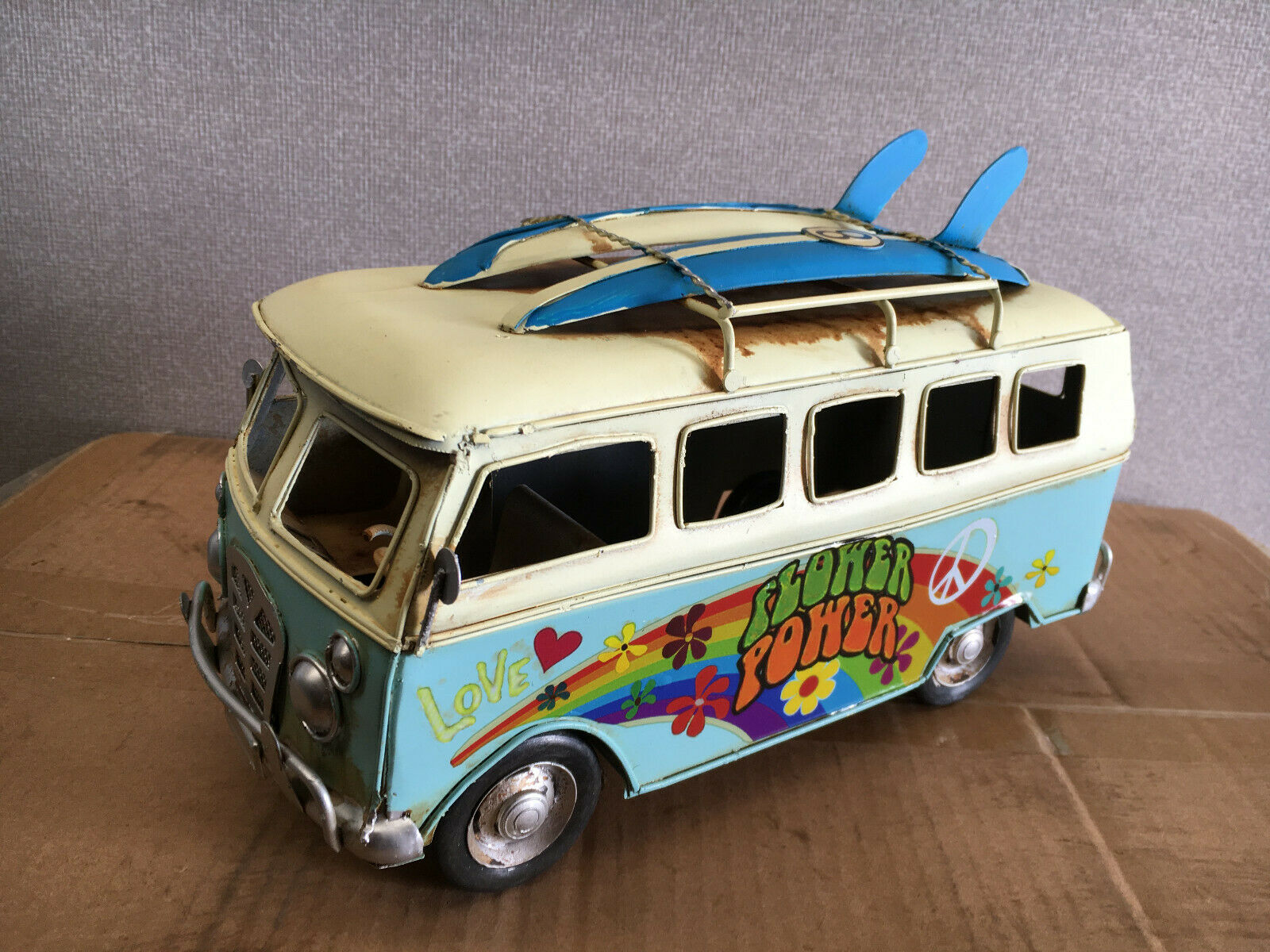 bluee Tin Vintage Flower Power Camper Van With Surf Boards Model