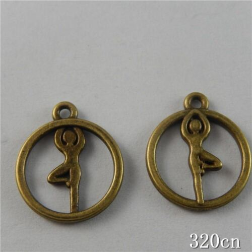 60pcs Vintage Bronze Alloy Round Yoga Sport Pendentif Charme Jewelry Craft 50752