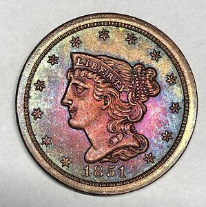 1851 Braided Hair Half Cent C-1 Blazing Colorful Rainbow Toning EDS