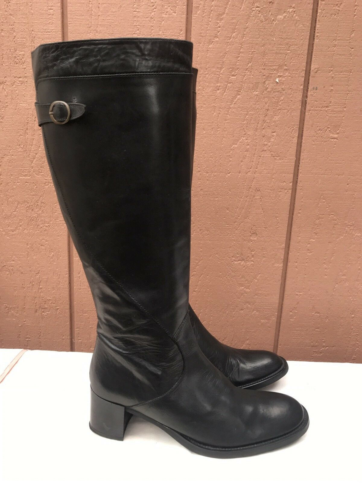EUC Balmain Riding Black US 8.5 Leather Boots Buckle Full Zip