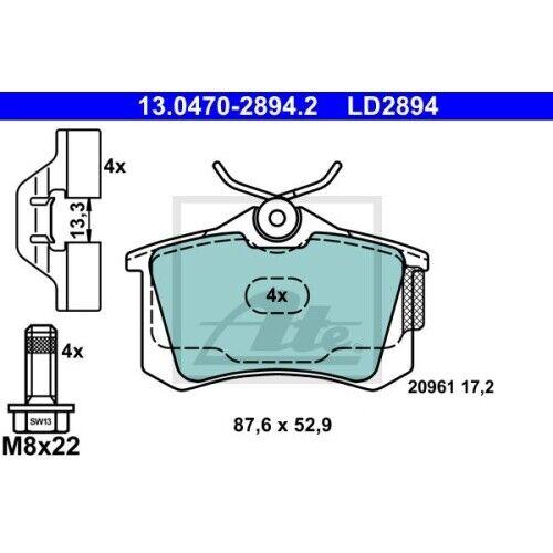 1 Bremsbelagsatz Scheibenbremse ATE 13.0470-2894.2 ATE Ceramic passend für VAG