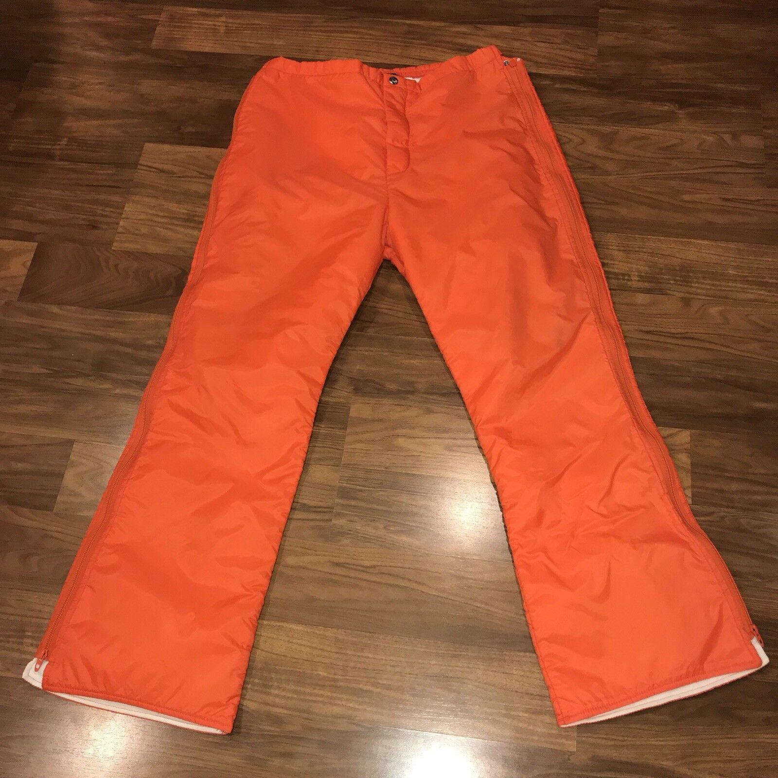 Vtg 70s 80s orange SPORTCASTER Womens Large FULL ZIP Snow Suit bib SKI pants MOD