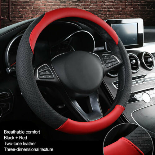 15inch Red Car Steering Wheel Cover Leather Universal Protective Cover for Truck