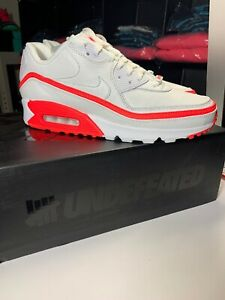 Details about New Nike Air Max 90 UNDEFEATED White Solar Red 100% Authentic Sz 9.5 CJ7197 102