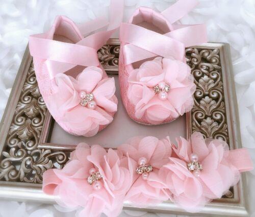 Baby Girl Pink Christening Shoes Rhinestone Pearl Chiffon Flower Headband Set