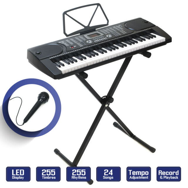 Digital Piano Keyboard 61 Key Portable Electronic Instrument With Stand